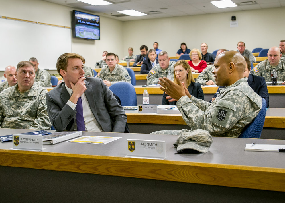 Kander visiting Fort Leonard Wood in 2013 ( source )