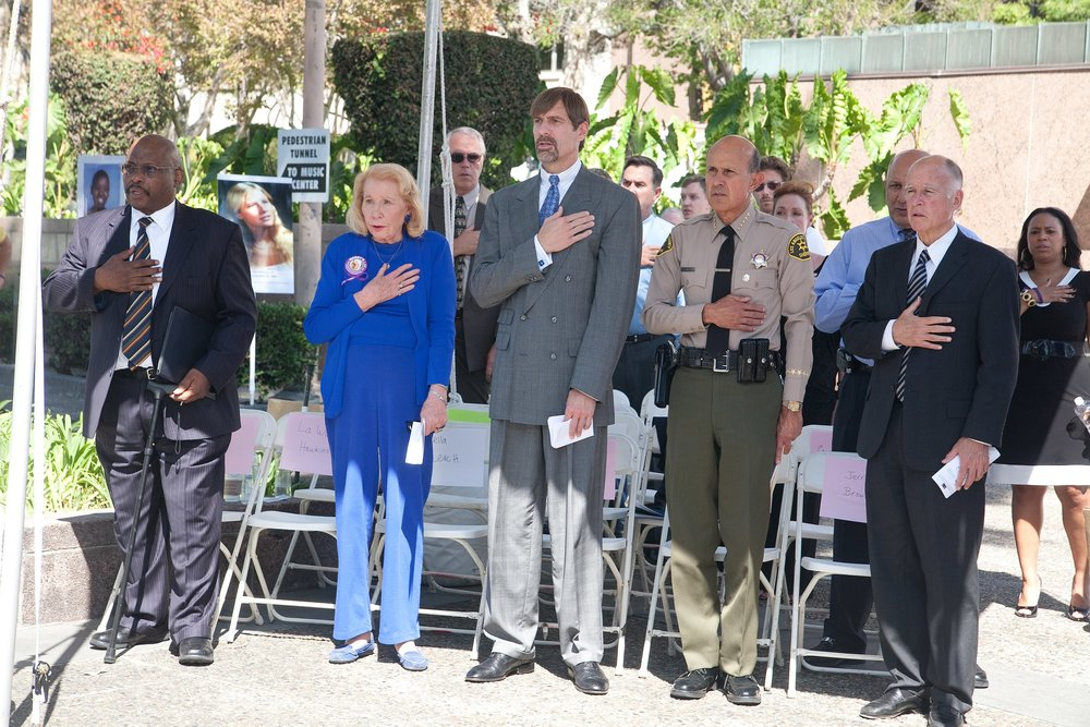 Then-California Attorney General Jerry Brown with leaders at the forefront of Proposition 9, more commonly known as Marsy's Law, in 2011 ( source )