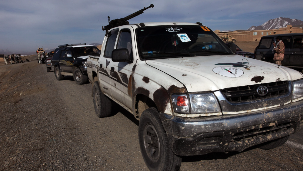 A Toyota Hilux driven by a private security company in Afghanistan ( source )