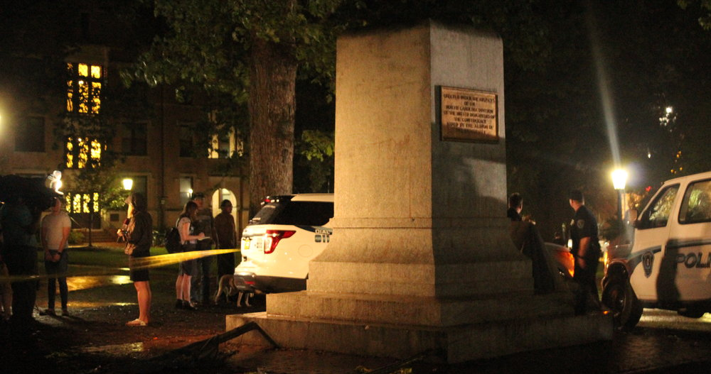 The pedestal upon which Silent Sam stood until the evening of August 20th ( source )