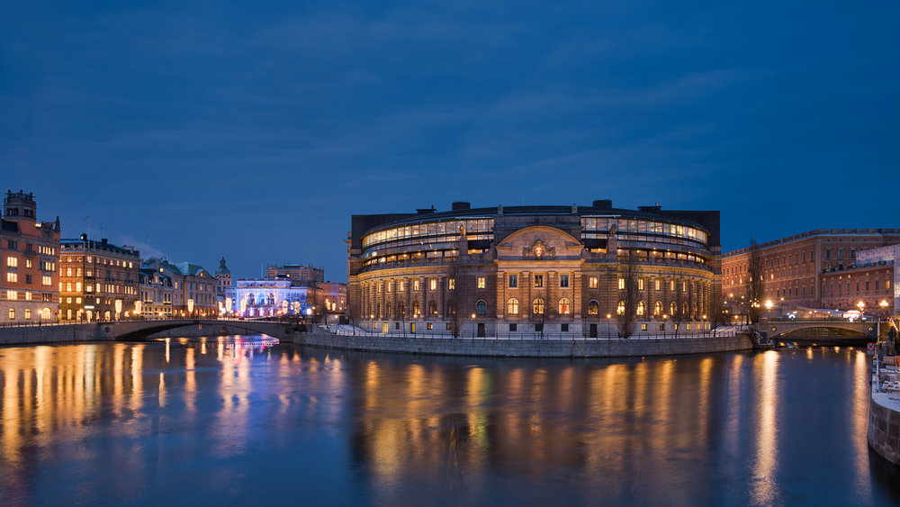 The Parliament House in Stockholm, Sweden ( source )