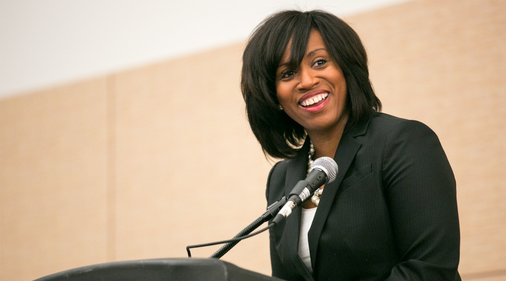 Ayanna Pressley, then a member of the Boston City Council, speaking at an event in 2014 ( source )