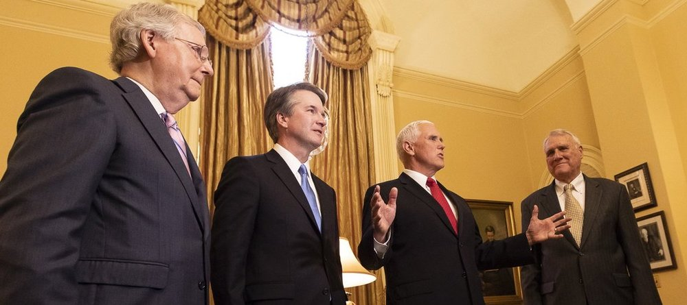 Supreme Court nominee Brett Kavanaugh with Mitch McConnell, Mike Pence, and Joe Kyl at the Capitol in July ( source )