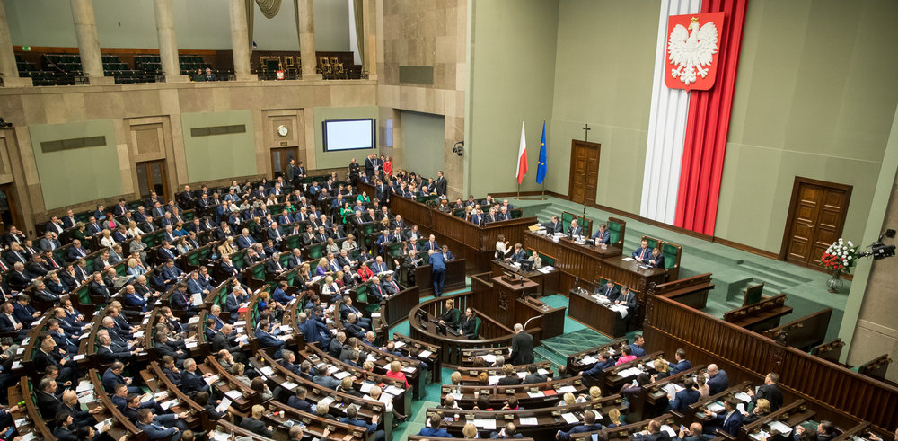 The Sejm, the lower house of Poland's parliament, in session this January ( source )