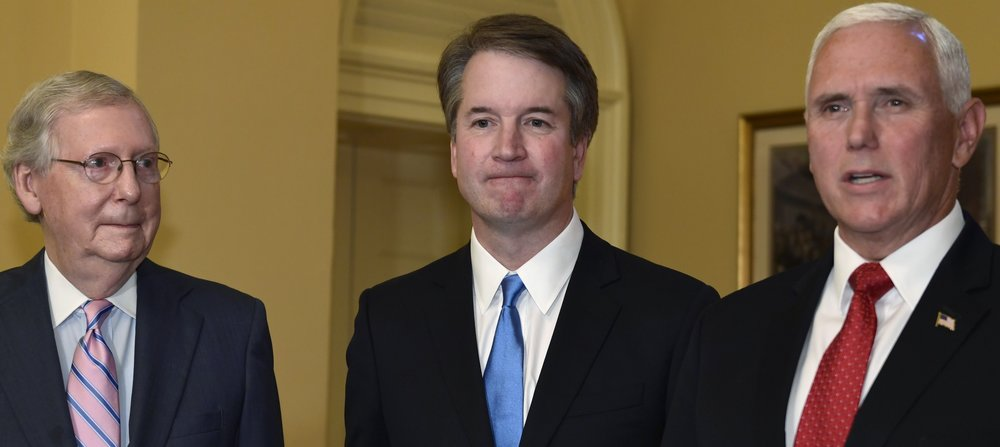 Supreme Court nominee Brett Kavanaugh with Senator Mitch McConnell and Vice President Mike Pence ( source )