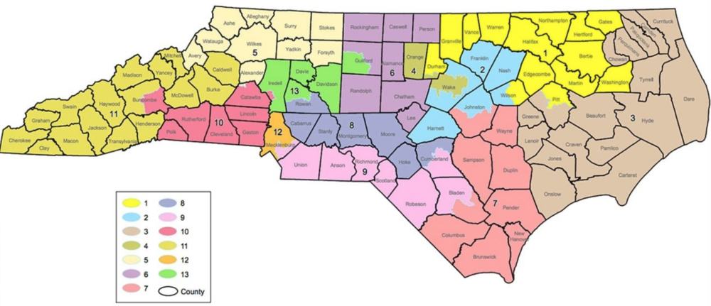 The current map of North Carolina's congressional districts, with the NC-13 highlighted in green ( source )