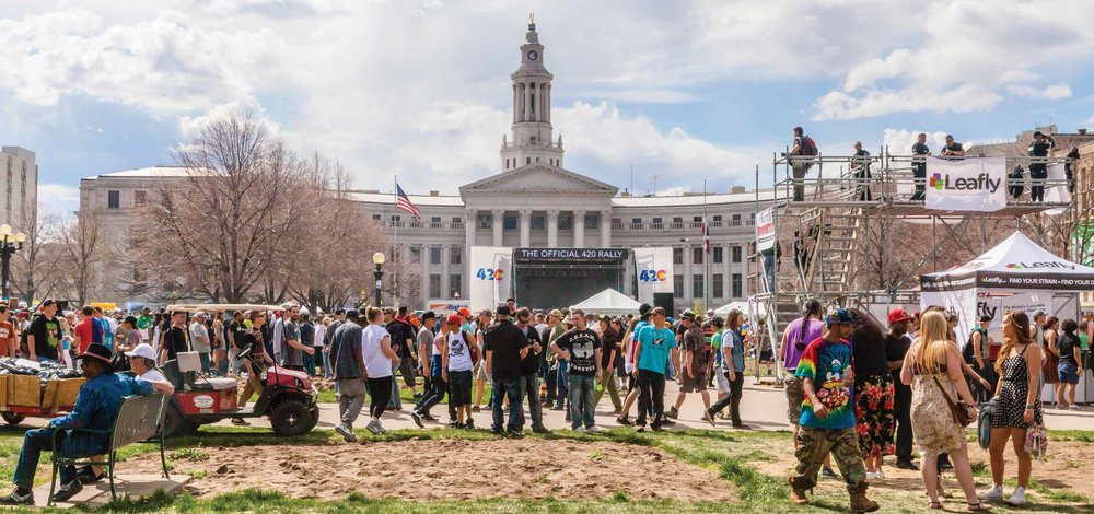 Last year's 420 Rally, staged in front of Denver's City Hall ( source )