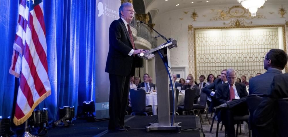 National Security Advisor John Bolton addressing a gathering of the Federalist Society in September ( source )