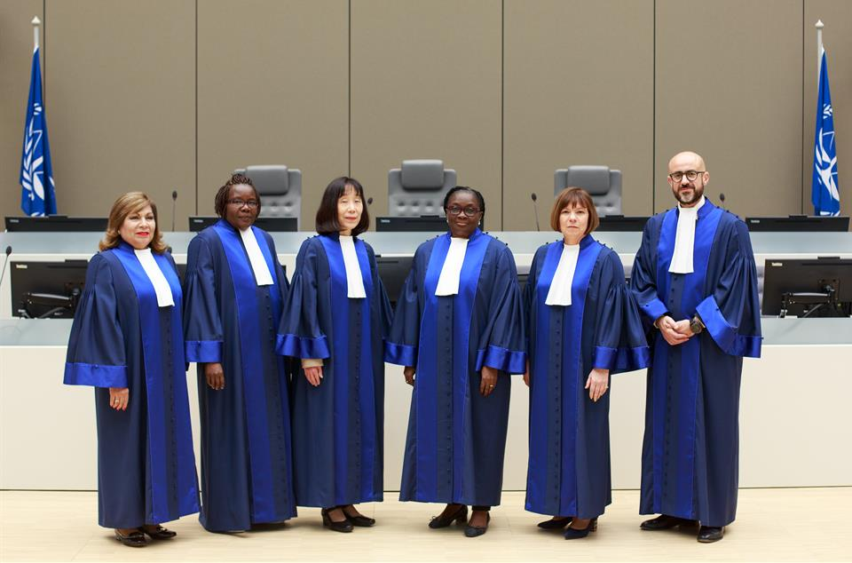 Six International Criminal Court judges pictured after being sworn in earlier this year ( source )