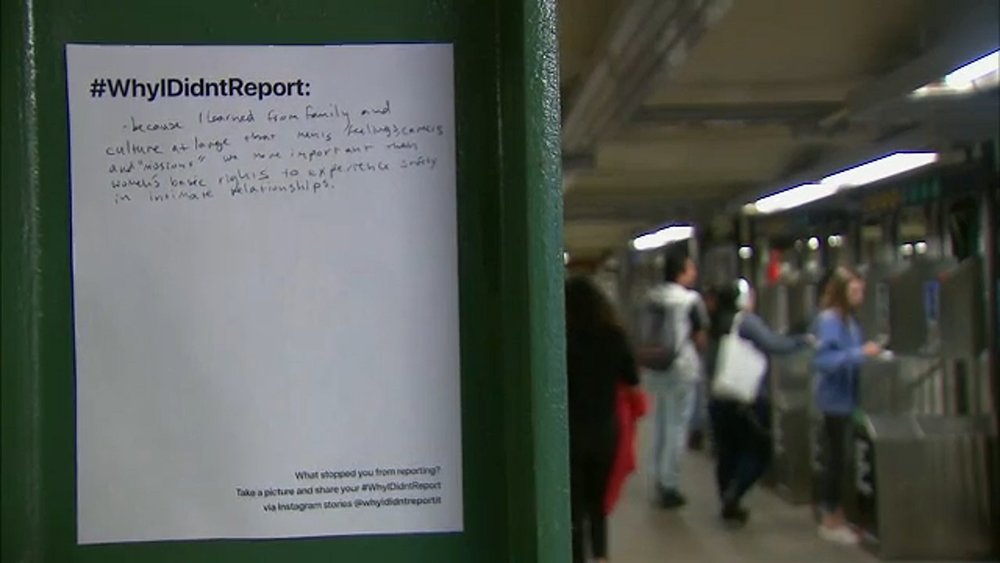 A #WhyIDidntReport poster in New York City's Union Square subway station ( source )