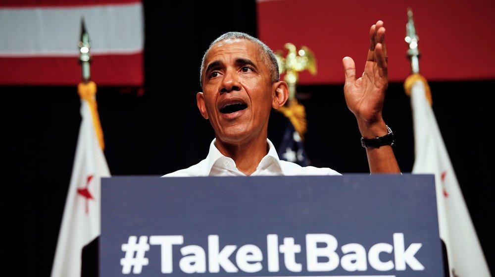 Barack Obama speaking on behalf of California congressional candidates in Anaheim last month ( source )