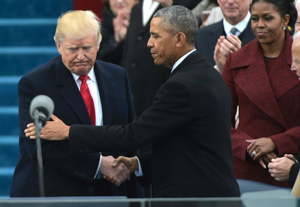 Then-President Obama greeting Donald Trump at the president-elect's swearing-in ceremony last year ( source )