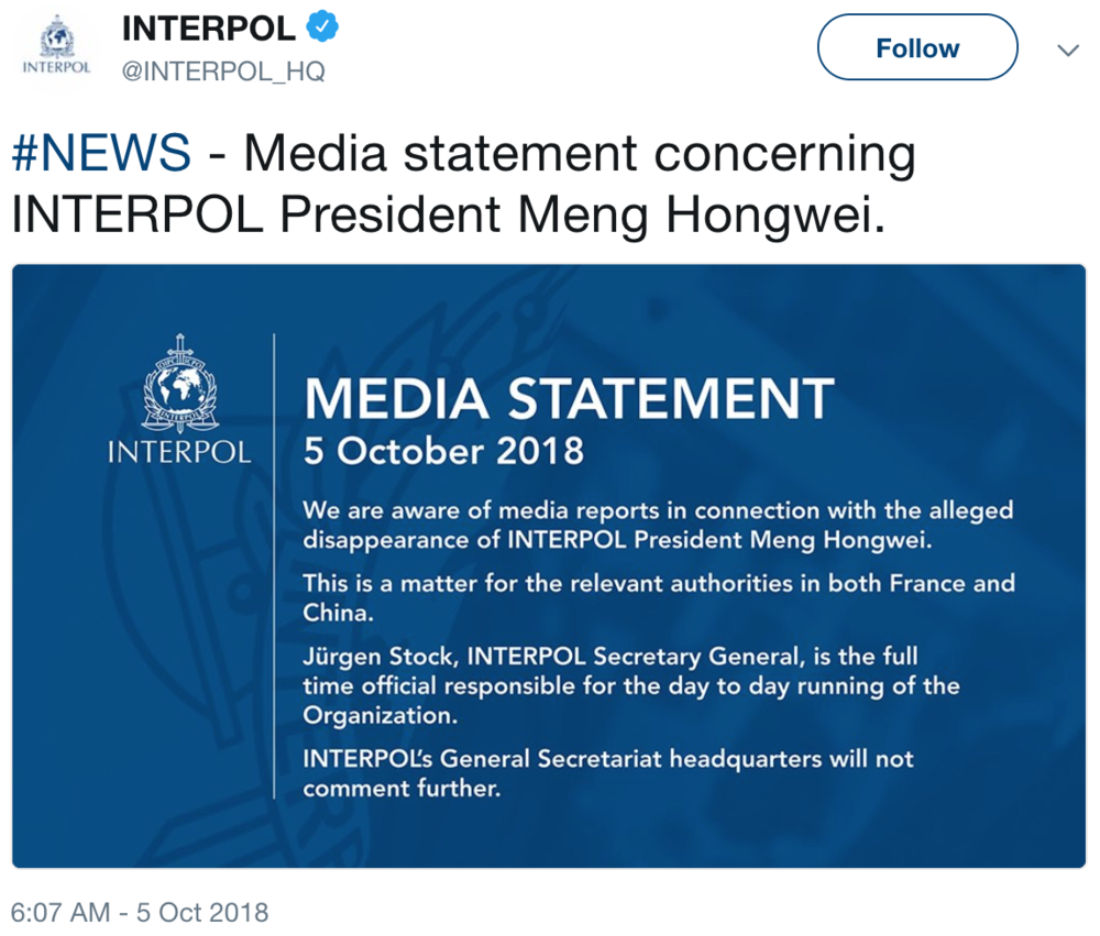 A statement from Interpol posted on Twitter ( Image )