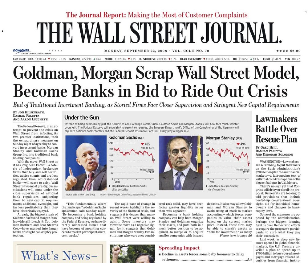 The front page of an edition of  The Wall Street Journal  published in the midst of the 2008 financial crisis ( Image )
