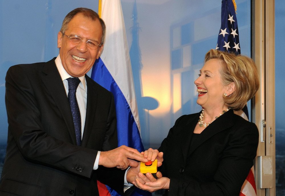 "Sergey Lavrov, Foreign Minister of Russia, pushing the ""reset button"" with then-Secretary of State Hillary Clinton in 2009 ( Image )"