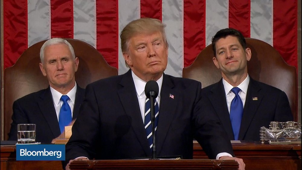 "The President during his first address to Congress, one of many speeches in which he promised to ""drain the swamp"" ( Image )"