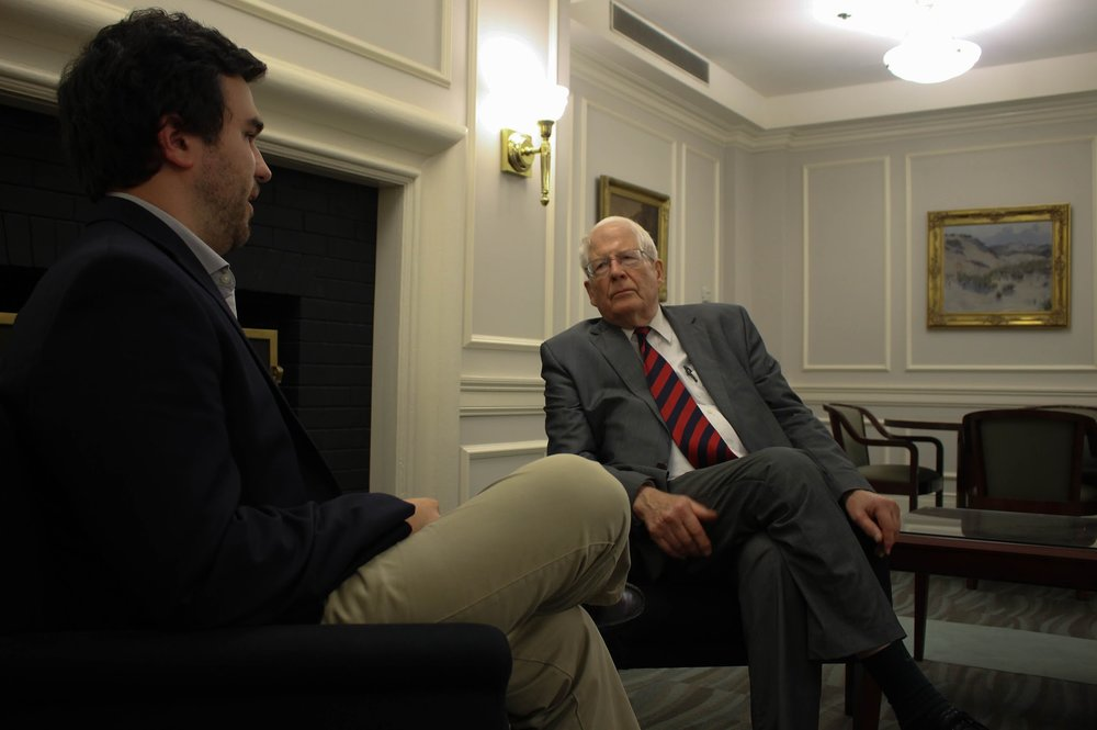 Local Editor Payne Lubbers with US Representative David Price (Image: Blythe Gulley)