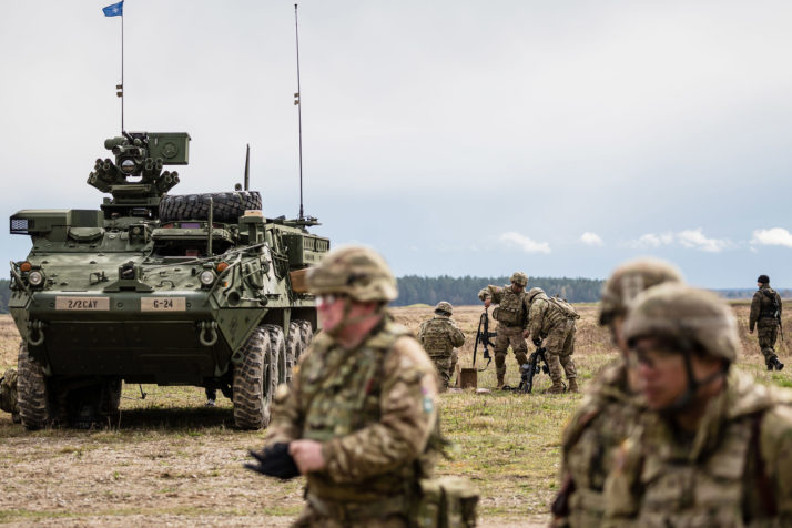 US soldiers in Orzysz, Poland in 2017 before a NATO ceremony ( Image )