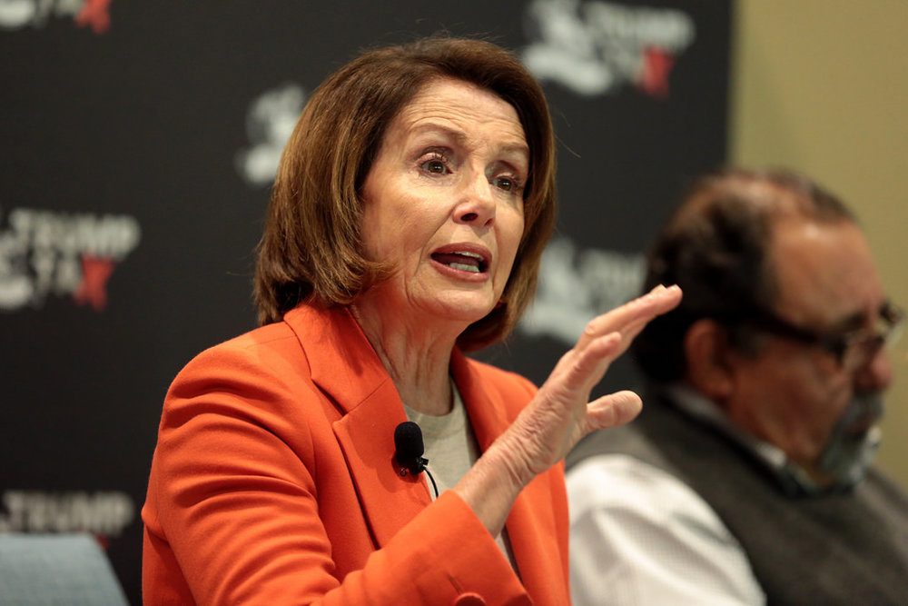 Minority Leader Nancy Pelosi speaks at a Trump Town Hall event in Phoenix, Arizona last February ( source )