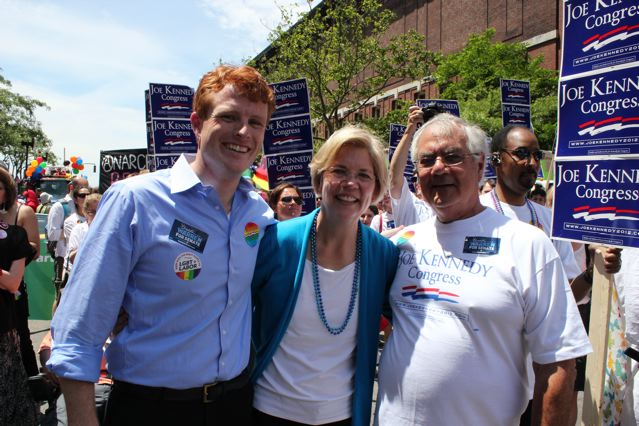 From left to right: Joe Kennedy, Elizabeth Warren, and Barney Frank on the campaign trail for Kennedy in 2012. Warren and Frank are considered veterans of the Democratic Party, while newcomer Kennedy gained celebrity status when he delivered the Democratic response to President Trump's State of the Union speech earlier this year. ( source )
