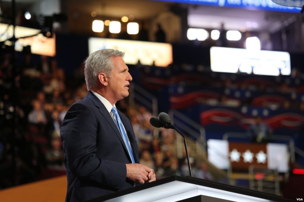 Kevin McCarthy (R-CA) speaks at the Republican National Convention in 2016 ( source )