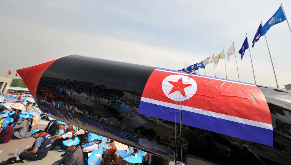A mock North Korean missile on display at an anti-nuclear testing rally in South Korea in 2009 ( Image )