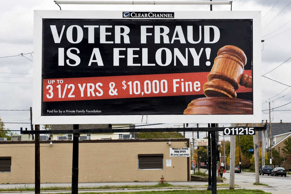 A billboard denouncing voter fraud in Cleveland, Ohio ( Image )
