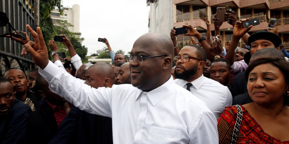 Felix Tshisekedi, President-Elect of the Democratic Republic of Congo, with supporters earlier this month ( Image )