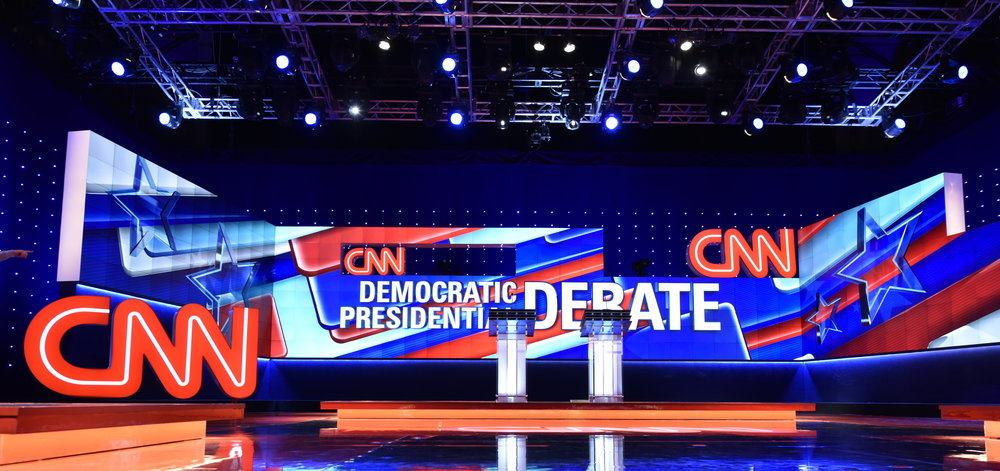 The stage for CNN's Democratic presidential debate in Brooklyn in 2016 ( Image )