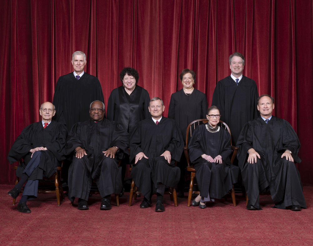 The nine current Justices seated on the United States Supreme Court ( Image )