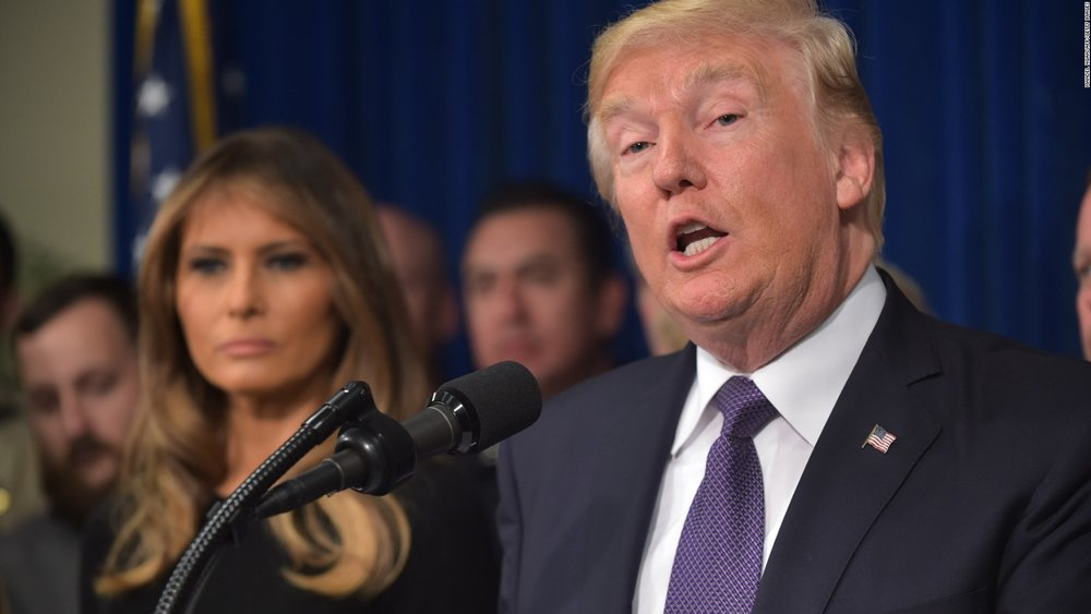 President Trump making remarks days after the 2017 Las Vegas shooting that claimed 59 lives ( Image )