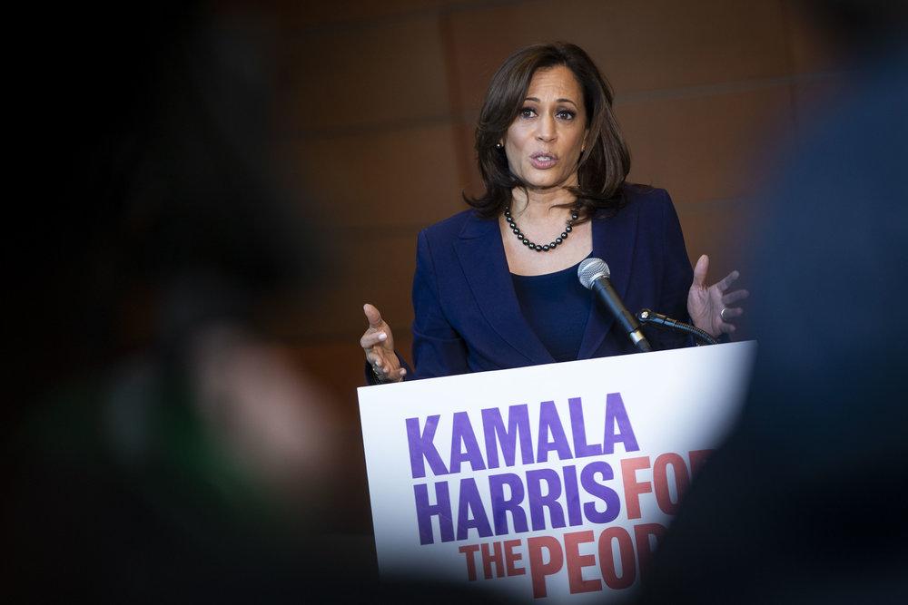 Senator Kamala Harris speaking to the press after announcing her presidential bid in January ( Image )
