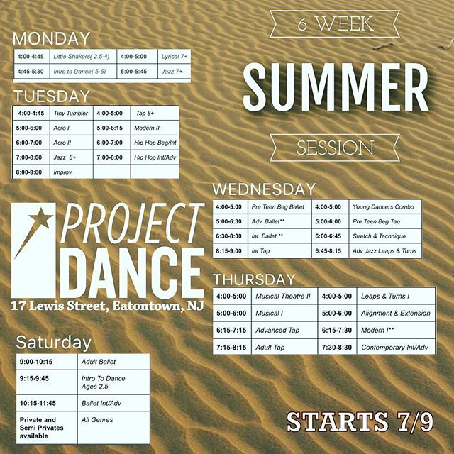 Looks Like Summer Is About To Get HOT🔥🔥🔥 Tons of classes to choose from with our incredibly inspiring faculty! Ages 2.5⬆️to Adult Classes  UP YOUR TECHNIQUE GAME! To Register Call or Email  732-551-5151  ProjectDance732@gmail.com