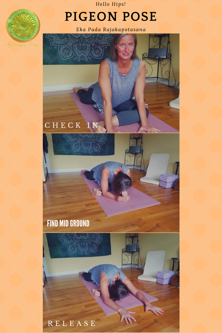 Pigeon Pose options abound; blanket or block under hip, perhaps a bolster under the chest.