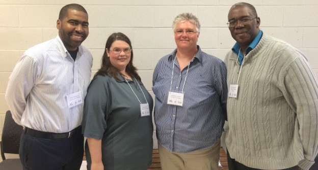 Local history award judges (L to R) Julian Hipkins III, Marsha McNeil, Glendolyn Crowell, and Raymond Brookter. (McNail, Crowell, and Brookter are Mississippi Civil Rights Movement and Labor History teacher fellows.)