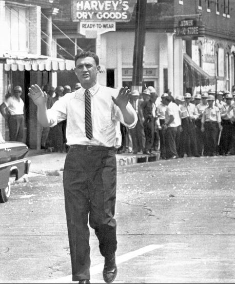 Asst. U.S. Atty. Gen. John Doar at the funeral for slain civil rights leader Medgar Evers. (AP)
