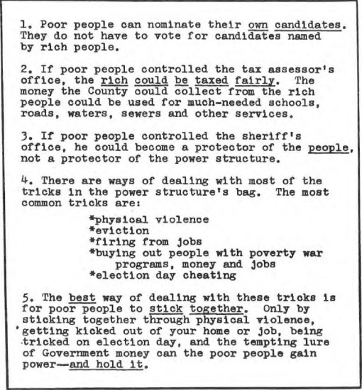 """Lessons from the Elections"" page from a Lowndes County Freedom Organization (LCFO) pamphlet. Click to read in full."