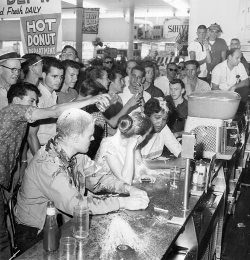 May 28, 1963: Woolworth Sit-in in Jackson, MS Seated L to R: John Salter (Hunter Bear), Joan Trumpauer (now Mulholland), and Anne Moody. Photo: Fred Blackwell, Image ID #2381, Wisconsin Historical Society.