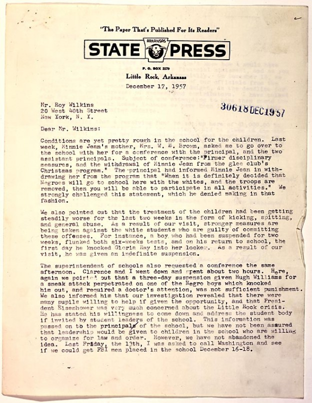 Letter on the treatment of the Little Rock Nine, Dec. 17, 1957 from Daisy Bates to Roy Wilkins. NAACP Collection, Manuscript Division