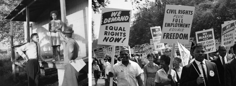 Left Photo: Rutledge Pearson (on left), a former baseball player and president of the Jacksonville NAACP, speaks with a woman about   an upcoming jobs   and freedom march. Oscar N. Taylor Jr. (on right with hat) was later elected to the City Council of Jacksonville. Photo credit: Wisconsin Historical Society. Right Photo: Civil rights demonstrators make their way through the National Mall during the March on Washington for Jobs and Freedom. Photo credit: Walter Reuther Library.