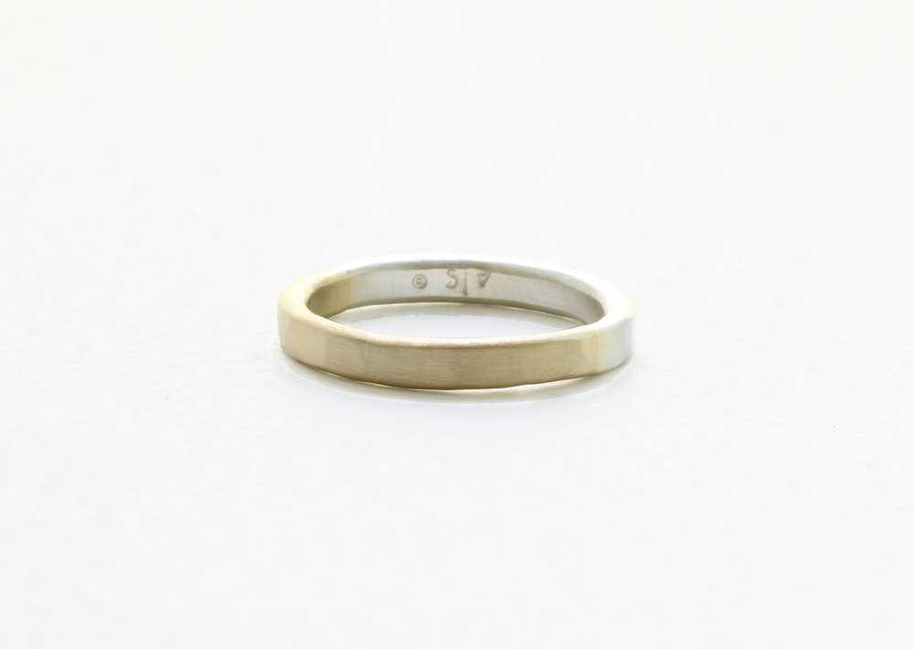 Christine Vasan | Thin Hammered in White & Yellow Gold