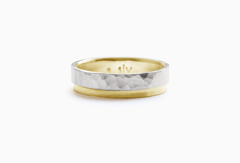 Christine Vasan | Hammered Tier White & Yellow Gold