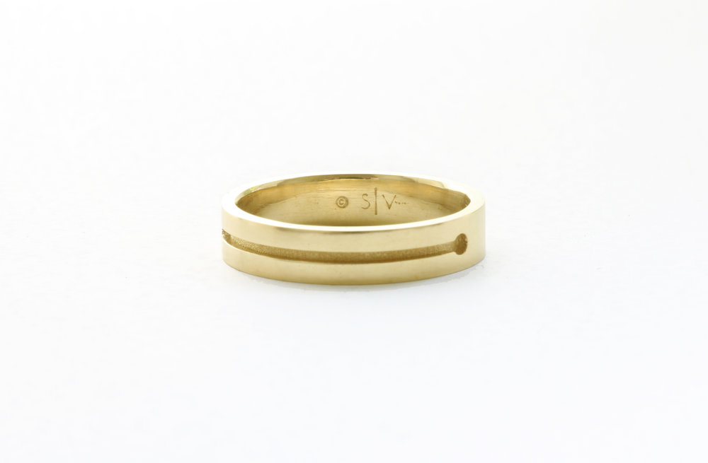 Christine Vasan | Barbell Ring in Green Gold