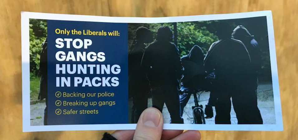 The cover of the racist leaflet being distributed by Victoria's Liberal Party