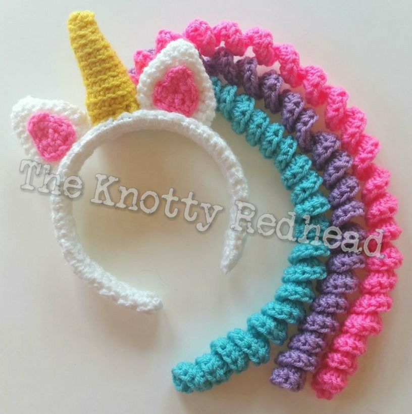 Unicorn Mane Headband Free Pattern The Knotty Redhead