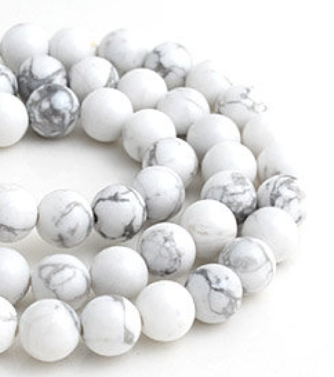 Howlite   Chakra: crown.Good for calm communication, memory and action.Good for emotional expression.Helps with stress and anger.