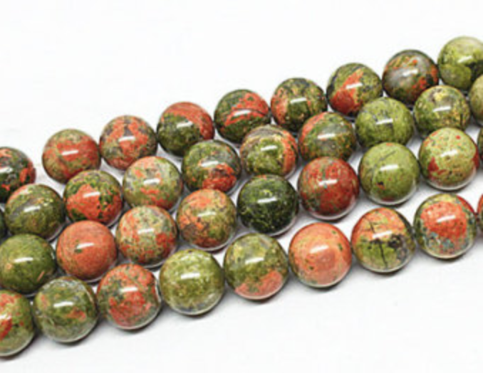 Unakite Jasper   Chakra: Heart. Good for the emotions. Connects the base and heart chakras allowing you to move forward from your heart. Helps balance yin/yang. Good for being in the present moment.