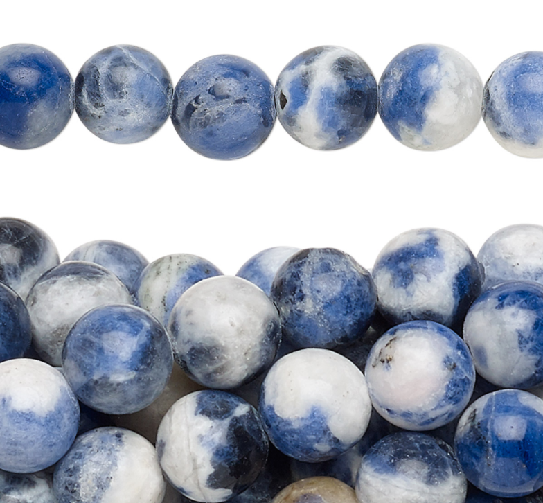 Sodalite   Chakra: brow. Good for ideas, perception, creative expression and endurance.Helps in communicating feelings.Helps with confusion,mental unrest, oversensitivity, and fear.Good for self-esteem, healing and calming.