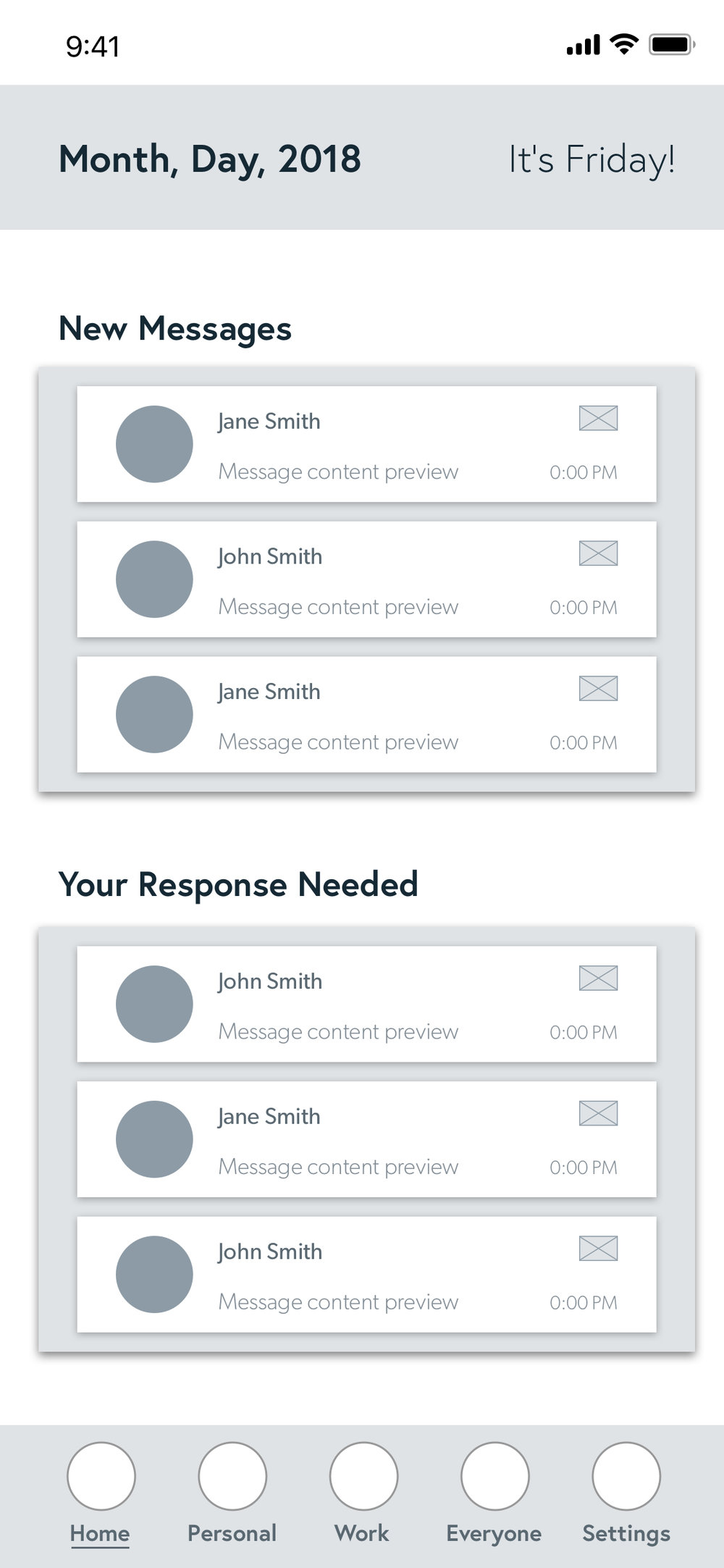 The ' Home ' tab where the new and unresponded messages are separated.