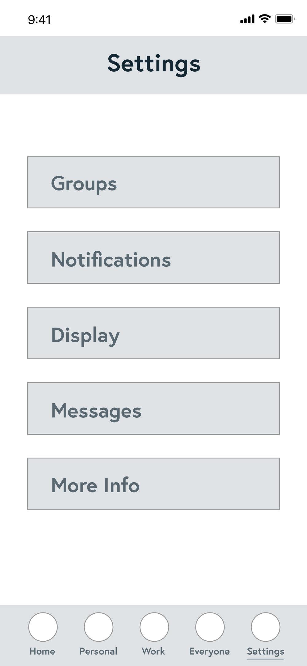 Main settings page